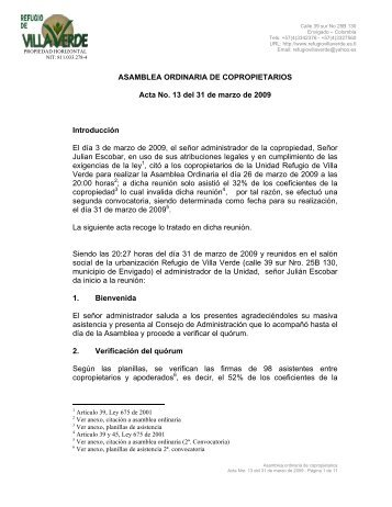 ASAMBLEA ORDINARIA DE COPROPIETARIOS Acta No. 13 del 31 ...