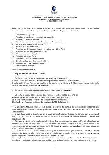 ACTA No. 007 – ASAMBLEA ORDINARIA DE COPROPIETARIOS ...