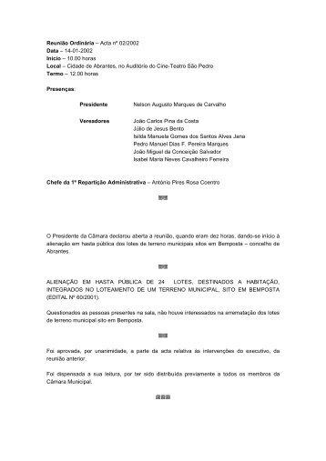 Acta nº 02/02 * 2002-01-14 - Câmara Municipal de Abrantes