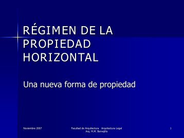 régimen de la propiedad horizontal - Facultad de Arquitectura