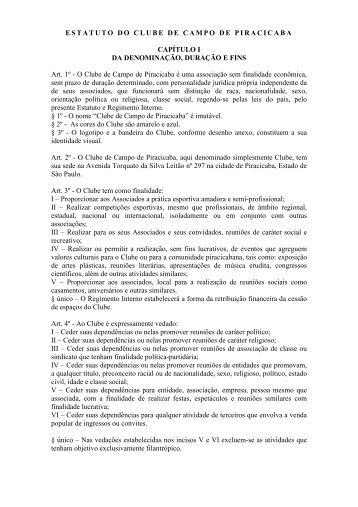 ESTATUTO DO CLUBE DE CAMPO DE PIRACICABA