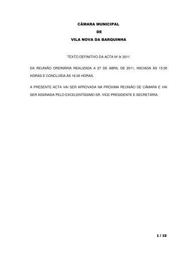 1 / 12 CÂMARA MUNICIPAL DE VILA NOVA DA BARQUINHA