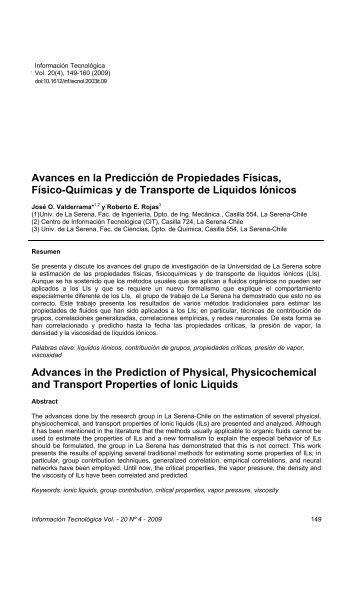 Avances en la Predicción de Propiedades Físicas, Físico ... - SciELO