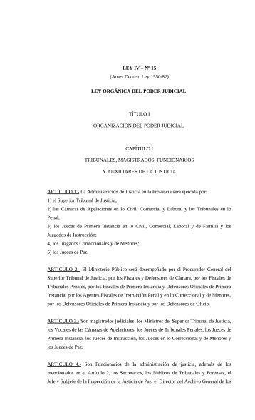 LEY IV - Poder Judicial de la Provincia de Misiones