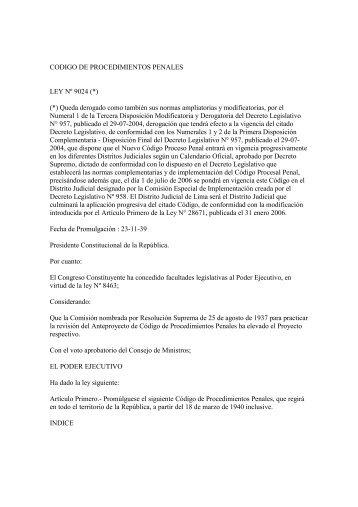 Código de Procedimientos Penales - Ministerio Público