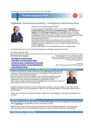 Topthema: Patrick Schmid persönlich - PS Consulting GmbH