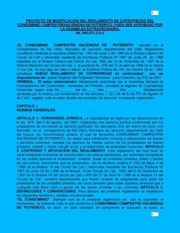proyecto de modificación del reglamento de copropiedad del