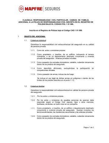 Cad 1 91 088 R.C. Cabeza de Familia - Mapfre Seguros
