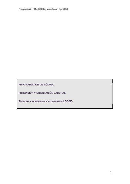 1 Programación De Módulo Formación Y Ies San Vicente