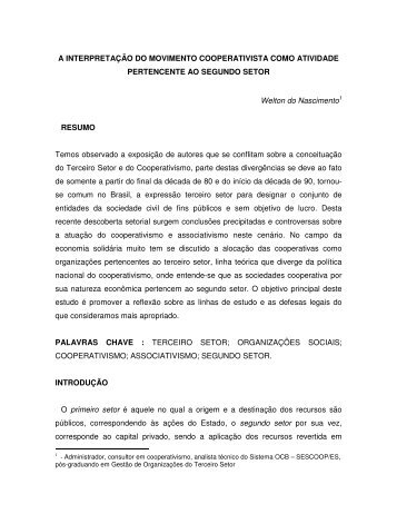 A INTERPRETAÇÃO DO MOVIMENTO COOPERATIVISTA COMO ...