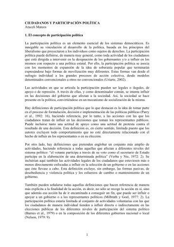 1 CIUDADANOS Y PARTICIPACIÓN POLÍTICA Araceli Mateos 1. El ...