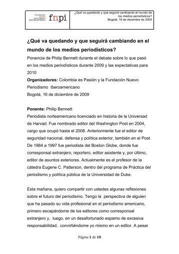 Ponencia de Bennet - Colegio Nacional de Periodistas