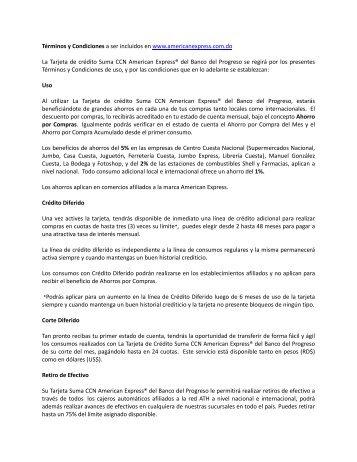Términos y Condiciones a ser incluidos en www.americanexpress ...