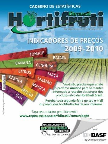 Tomate - preços coletados pelo Cepea - 2009 a 2010