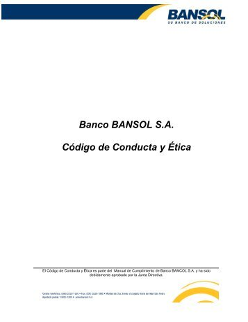 Banco BANSOL S.A. Código de Conducta y Ética