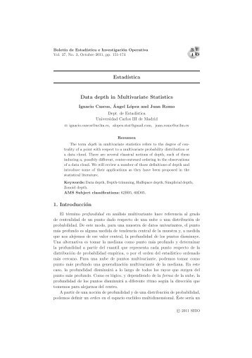 Data depth in Multivariate Statistics - European Mathematical Society