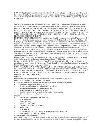 PROYECTO de Norma Oficial Mexicana NOM -060-FITO-1995, Por ...