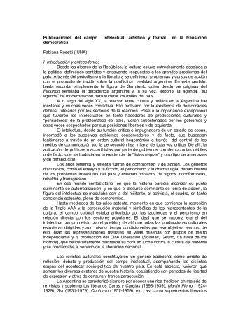 Publicaciones del campo intelectual, artístico y ... - Territorio Teatral