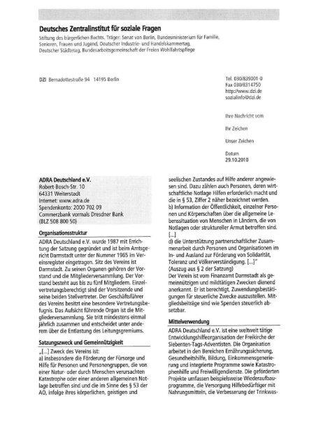 DZI-Beurteilung - Adra