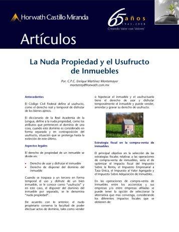 La Nuda Propiedad y el Usufructo de Inmuebles - BDO México