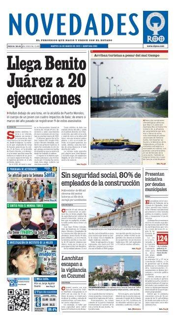 Llega Benito Juárez a 20 ejecuciones - Novedades de Quintana Roo