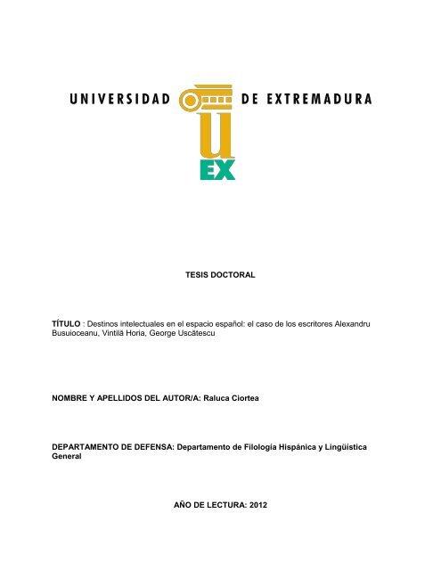 Tesis Doctoral Título Destinos Intelectuales En El