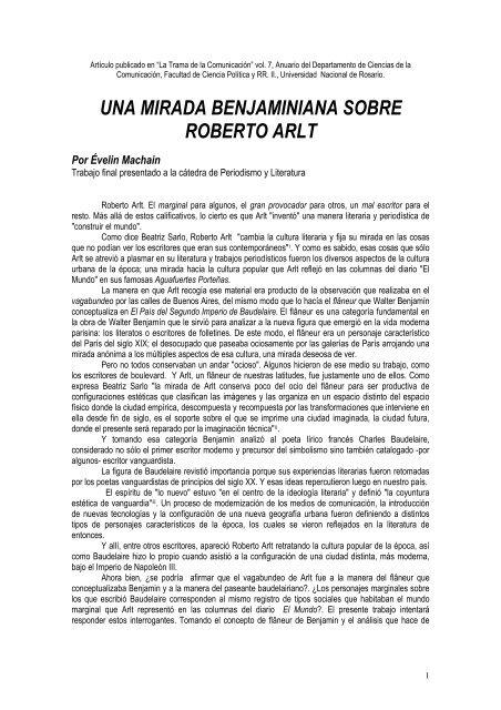 una mirada benjaminiana sobre roberto arlt - Universidad Nacional ...