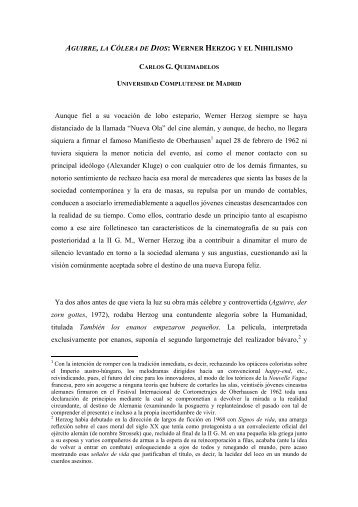 Aguirre, la Cólera de Dios: Werner Herzog y el ... - CES Felipe II