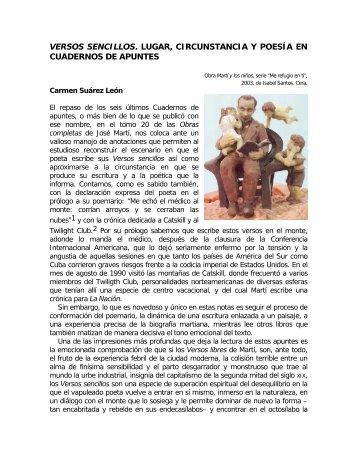 versos sencillos. lugar, circunstancia y poesía en ... - Portal José Martí