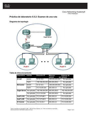 Práctica de laboratorio 5.5.2: Examen de una ruta