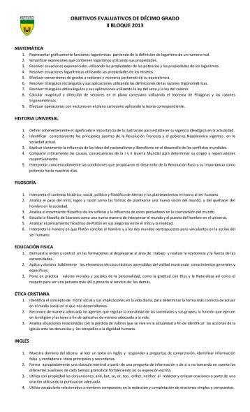 OBJETIVOS EVALUATIVOS DE DÉCIMO GRADO II BLOQUE 2013