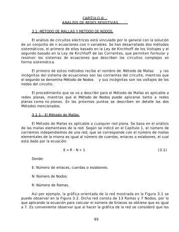 95 CAPITULO III ANALISIS DE REDES RESISTIVAS. 3.1.-METODO ...