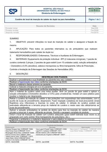 Diretoria de Enfermagem SUMÁRIO 1. OBJETIVO ... - Unifesp