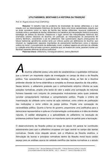 utilitarismos Bentham e a história da tradição - UFSJ