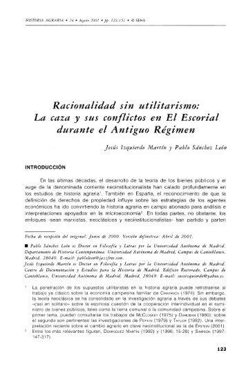 Racionalidad sin utilitarismo: La caza y sus conflictos en El ... - Dialnet