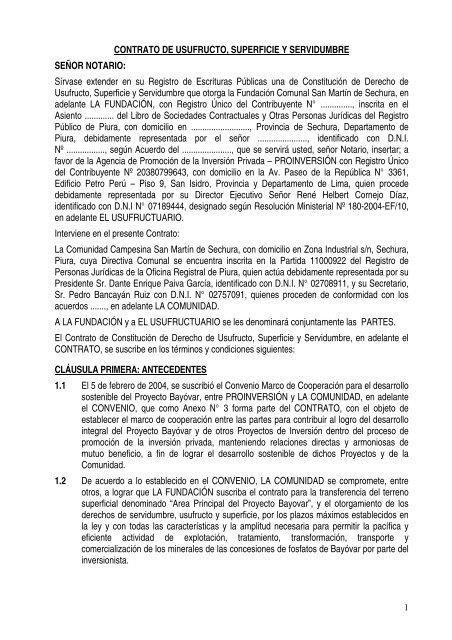 contrato de usufructo, superficie y servidumbre - Proinversión
