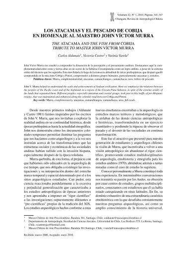 Los Atacamas y el Pescado de Cobija en Homenaje al ... - SciELO