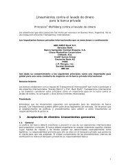 Lineamientos contra el lavado de dinero - Pronafim
