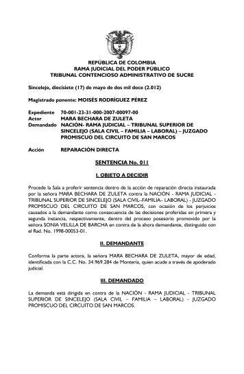 SENTENCIA No. 011 - Rama Judicial