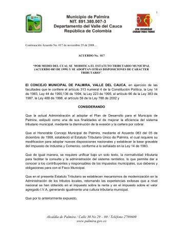 El ALCALDE MUNICIPAL DE PALMIRA, VALLE DEL CAUCA, en ...