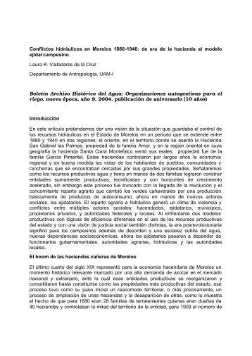 Conflictos hidráulicos en Morelos 1880-1940 - Organización social y ...