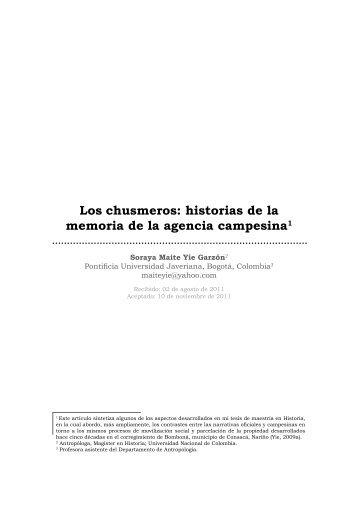 Los chusmeros: historias de la memoria de la ... - SciELO Colombia