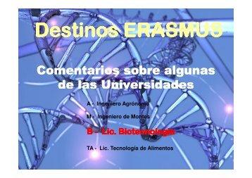destinos biotecnología curso 2009-2010 - Escuela Técnica Superior ...