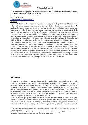 El pensamiento pedagógico del protestantismo liberal - Revista ...