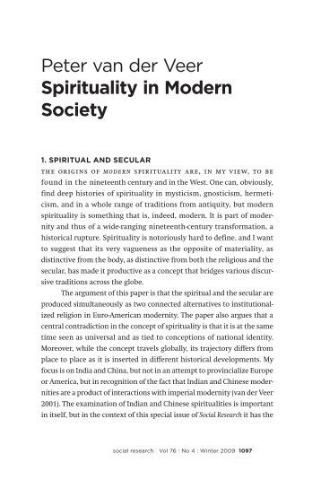 Peter van der Veer Spirituality in Modern Society - Max Planck ...