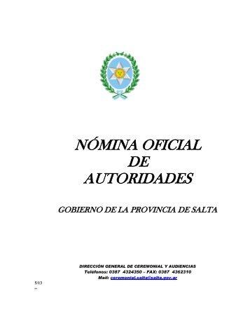 nómina oficial de autoridades - Gobierno de la Provincia de Salta