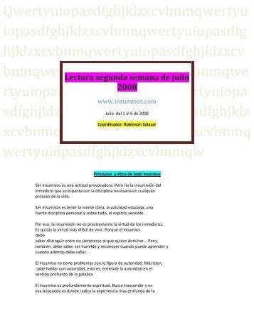 Lectura segunda semana de julio 2008 - Insumisos