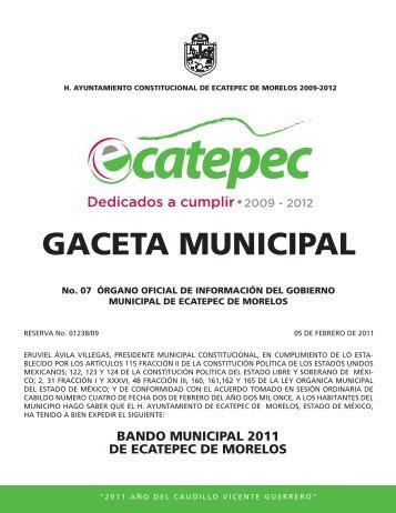 Bando Municipal 2011 - H. Ayuntamiento de Ecatepec de Morelos