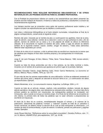 Las referencias bibliográficas - Facultad de Ciencias Políticas y ...