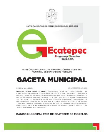 Bando Municipal 2013 - H. Ayuntamiento de Ecatepec de Morelos